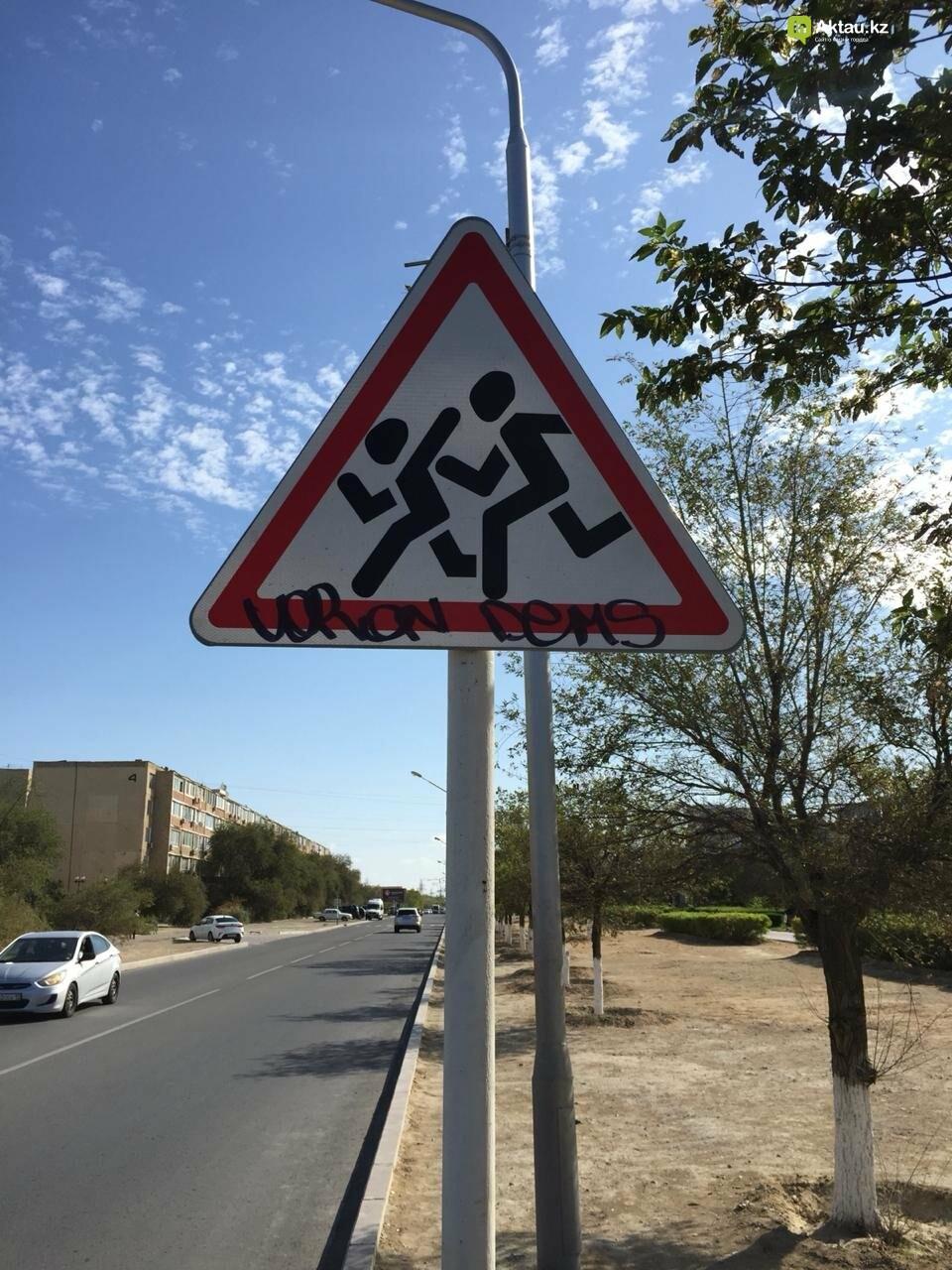 Разрисовавшего дорожные знаки вандала задержала полиция в Актау, фото-1