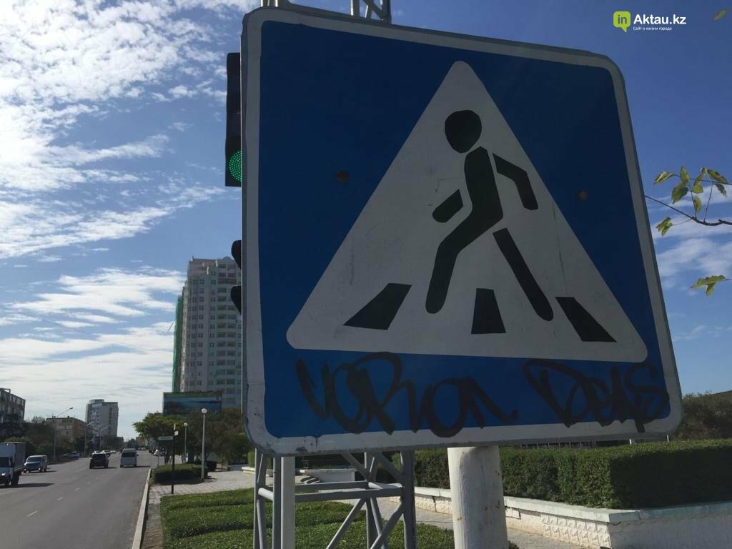 Разрисовавшего дорожные знаки вандала задержала полиция в Актау, фото-6