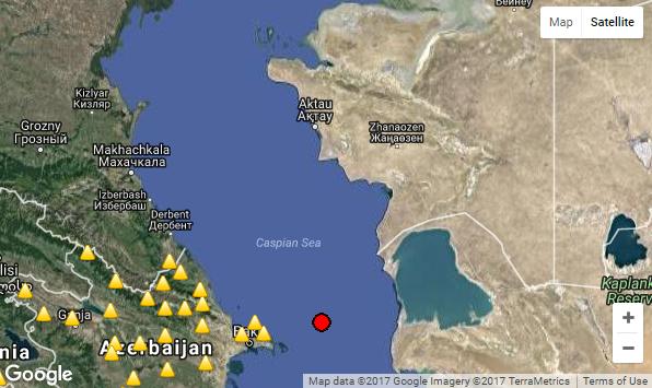 В Каспийском море зарегистрировано землетрясение в три балла, фото-1