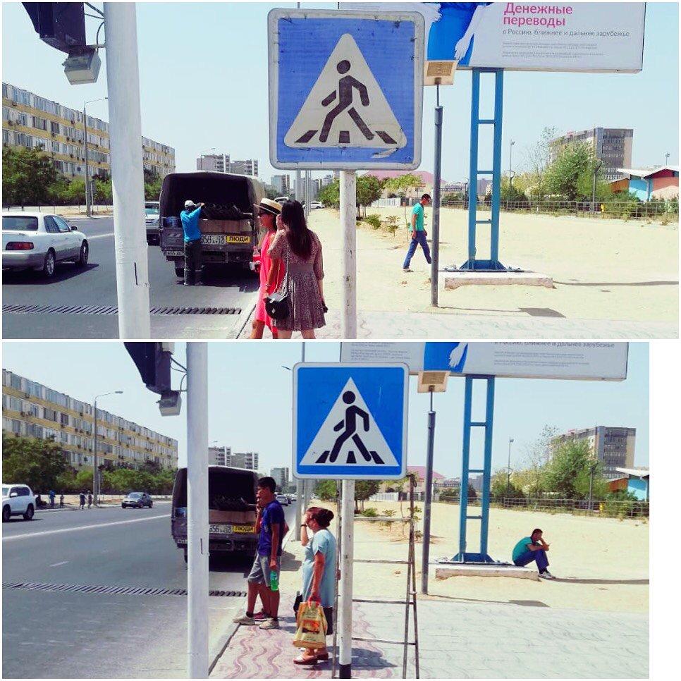 В Актау обновляют разметку (ФОТО), фото-8