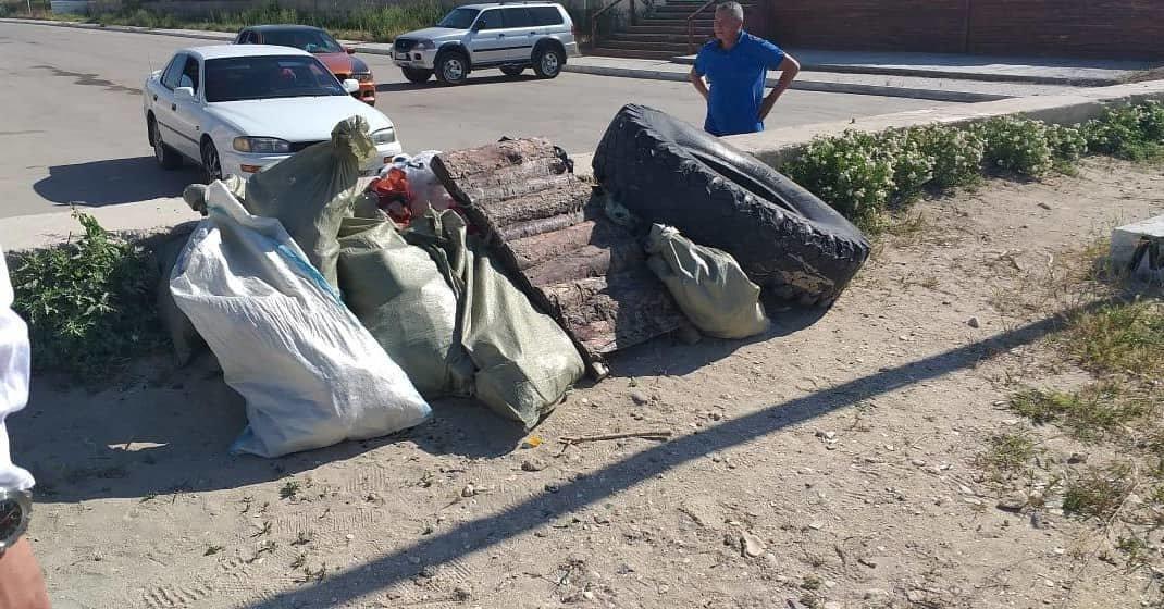 250 мешков мусора вывезли госслужащие с пляжа в Актау, фото-2