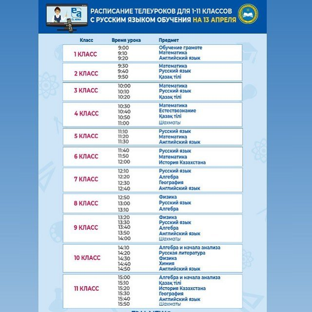 Расписание уроков для 1-11 классов на 14 апреля, фото-1