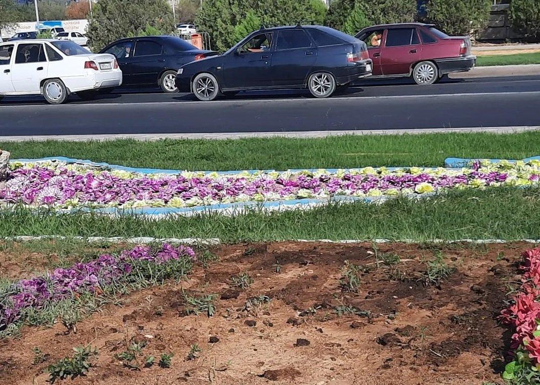 Искусственные цветы в клумбе в Актау